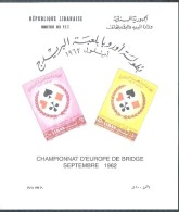 MNH Souvenir Sheet EUROPEAN BRIDGE CHAMPIONSHIP 1962 LEBANON LIBAN LIBANO LIBANON - Lebanon