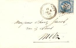 Napoléon III Sur Lettre N°22, Cachet à Date Cercle Pointillé 1868 Metz - 1862 Napoléon III