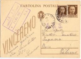 1945 Cartolina Postale Valori Gemelli 30c  Per Palermo  Q1 - 1900-44 Vittorio Emanuele III