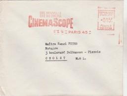 """E M A """" CINEMASCOPE / Une Nouvelle ère Du Cinéma """" Sur Env. Fox Europa, Paris ... Pour Cholet.. (superbe) - Marcophilie (Lettres)"""