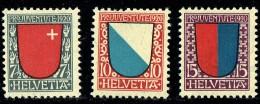 1920   Ecussons Des Cantons: Schwytz, Zurich, Tessin    *  Charnières Légères