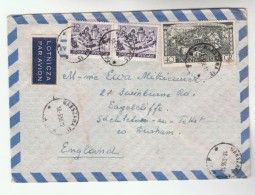 1956 Air Mail POLAND Stamps COVER To GB   Airmail Label - Covers & Documents