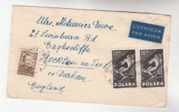 1949 Air Mail Rajcza POLAND COVER Multi Stamps COAL MINING  To GB Energy Minerals Airmail Label - Covers & Documents