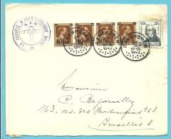 """570+596 Op Brief Met Stempel GANSHOREN, Met Privestempel """"AEROPHILATELIQUE BELGE"""" - 1936-1957 Offener Kragen"""