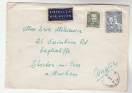 1951 Air Mail POLAND COVER Stamps To GB Airmail Label - Covers & Documents