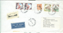 CASTELLI £. 5+5+900+1000+80 SIRACUSANA, IN TARIFFA  LETTERA 1° PORTO, RACCOMANDATA VIA AEREA GR.15,GENOVA-USA, FLORIDA - 1981-90: Storia Postale