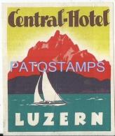 36874 SWITZERLAND LUZERN CENTRAL HOTEL LUGGAGE NO POSTAL POSTCARD - Hotel Labels