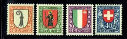 1923  Pro Juventute Ecussons Bâle, Glaris, Neufchâtel, Suisse  ** MNH