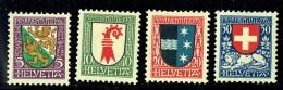 1926  Pro Juventute Ecussons Thurgovie, B^le-Campagne, Argovie, Suisse  * MH