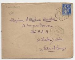 BAS-RHIN - 1939 - PAIX 90c Sur ENVELOPPE De GOUGENHEIM - CACHET HEXAGONAL D´AGENCE POSTALE - Marcophilie (Lettres)