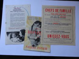 ETAT FRANCAIS 1940-44.lot De 3 Documents.FAMILLE (V. 6 Clichés) - Documents Historiques