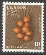 Ceylon. 1954 King Coconuts. 10c MH. SG 435 - Sri Lanka (Ceylon) (1948-...)