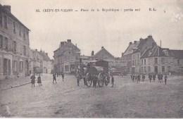 60 CREPY En VALOIS  Animation Enfants Machine  Rouleau Compresseur Devant L' HOTEL Du NORD Timbre 1916 - Crepy En Valois