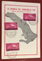 GIORNATA DEL FRANCOBOLLO 1961 PPROV. TRIESTE + ANNULLO SPECIALE DI TRIESTE AURISINA E MUGGIA   - TIRATURA 350 ESEMPLARI - Werbepostkarten