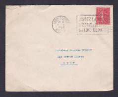 199 Semeuse 50c Perforé S G Sur Lettre Flamme Foire Internationale De Lyon Cad 1927 - 1921-1960: Période Moderne