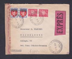 Paire 514 Petain Erreur Mourriez 2 Lyonnais 572 Lettre Express  Heidelberg Allemagne Ouvert Par Censure Militaire 1943 - Marcophilie (Lettres)