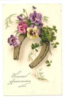 Cp, Fleurs, Heureux Anniversaire, écrite - Flores