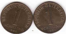 Osterreich - Austria,  2 X 1 SCHILLING 1985 + 1987 - Oesterreich