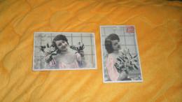 LOT DE 2 CARTES POSTALES ANCIENNES CIRCULEES DE 1906. / FEMME AVEC MUGUET. / CACHETS + TIMBRE - Femmes