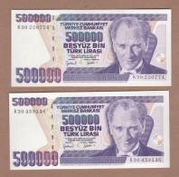 AC - TURKEY -  7th EMISSION 500 000 TL K 30 & 30 DIFFERENT WATERMARKS BOTH  UNCIRCULATED & RARE - Turchia