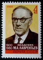 M. A. LAVRENTIEV MATHEMATICIEN 1981 - NEUF ** - YT 4854 - MI 5119 - 1923-1991 UdSSR