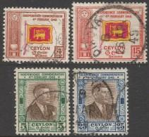 Ceylon. 1949 First Anniv. Of Independence. Used Complete Set. SG 406-409 - Sri Lanka (Ceylon) (1948-...)