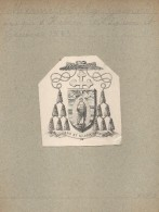 Ex-libris Héraldique XIXème - Mgr Gaspard MERMILLOD (Evèque D'Hebron) Lausanne Et Genève - Ex-libris