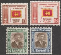 Ceylon. 1949 First Anniv. Of Independence. MH Complete Set. SG 406-409 - Sri Lanka (Ceylon) (1948-...)