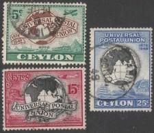 Ceylon. 1949 75th Anniv Of Universal Postal Union (UPU). Used Complete Set. SG 410-412 - Sri Lanka (Ceylon) (1948-...)