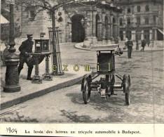Budapest Facteur Levée Des Lettres à Tricycle Automobile 11x9cm 1904 ( Bien Lire La Description) - Alte Papiere