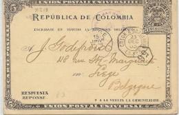 LBL37FR -  COLOMBIE CP EP BOGOTÁ / LIÈGE DECEMBRE 1903 - Colombia