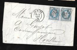 YVERT N°29 X 2 Sur Lettre Oblitéré Losange Gros Chiffre 2188 ( Le Manss ) En Septembre 1870  Pma3405 - Marcophilie (Lettres)