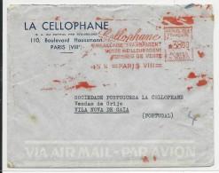 """1954 - EMA """"LA CELLOPHANE"""" Sur ENVELOPPE De PARIS Pour VILA NOVA De GAIA (PORTUGAL) - Postmark Collection (Covers)"""