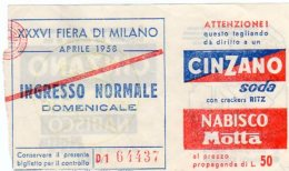 MILANO - 1958 -  XXXVI Fiera Di Aprile - - Tickets - Entradas