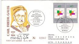 Germany FDC 1977 Carl Friedrich Gauss (G84-88) - [7] République Fédérale