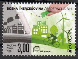 Bosnia Croatia 2016 Europa CEPT, Think GREEN, Environment, Bicycle, MNH - Bosnie-Herzegovine