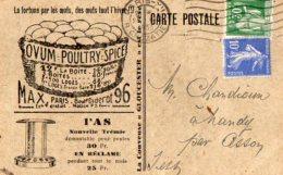 TB 983 - Carte Postale Publicitaire La Couveuse Gloucester  MAX PARIS XII Pour NANDY Par CESSON - Advertising