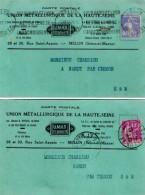 TB 985 - 2 Cartes Postales Publicitaires  U.M.H.S MELUN Pour NANDY Par CESSON - Advertising