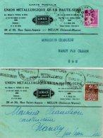 TB 986 - 2 Cartes Postales Publicitaires  U.M.H.S MELUN Pour NANDY Par CESSON - Advertising