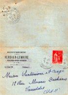 TB 988 -  Carte Lettre  Publicitaire Boucherie VERDIER - LEMAIRE  VILLIERS SAINT GEORGES  Pour VARREDDES - Advertising