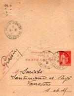 TB 989 - Entier Postal Type Carte Lettre OB LAGNY Pour VARREDDES - Postal Stamped Stationery