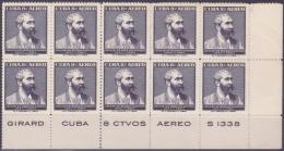 1957-226 CUBA. REPUBLICA. 1957. Ed.706. JOSE MARIA HEREDIA GIRALD. BLOCK 20. NO GUM. - Kuba