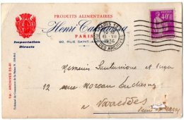 TB 991 - Carte Postale Pubicitaire Produits Alimentaires Henri CALVAROSSA PARIS 127 Pour VARREDDES - Advertising