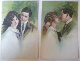 Lot 2x Litho Illustrateur ART NOUVEAU Stampa Milano 6102  A. GUERINONI ?  Couple Amoureux Decor Verdure - Guerinoni