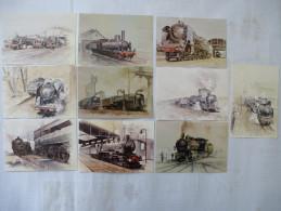 SNCF Locomotives à Vapeur : AQUARELLES De Lucien JOVENEAUX - LOT De 14 CPM -  Scans Recto Verso - Trains