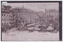 GRUSS AUS BASEL - TRAMWAY -  MARKTPLATZ - B ( PETIT PLI D'ANGLE ) - BS Basle-Town