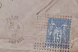 Cachet D'essais Du Bureau Central Daguin à Point 15c Yvert N° 101 Type II LSC Comparaison De Vente Précédente - Postmark Collection (Covers)