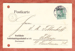 Firmenkarte, EF Germania, Runder Custos-Portokontrollstempel, Dortmund Nach Sottrup 1912 (29585) - Allemagne
