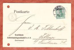 Firmenkarte, EF Germania, Runder Custos-Portokontrollstempel, Dortmund Nach Sottrup 1912 (29585) - Germania