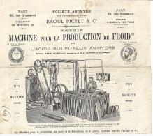 MACHINE POUR LA PRODUCTION DU FROID PAR L'ACIDE SULFUREUX ANHYDRE-SYSTEME RAOUL PICTET-1877 - France